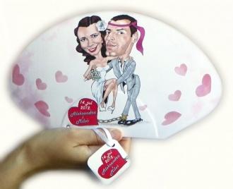 Lepeza za venčanja sa karikaturom
