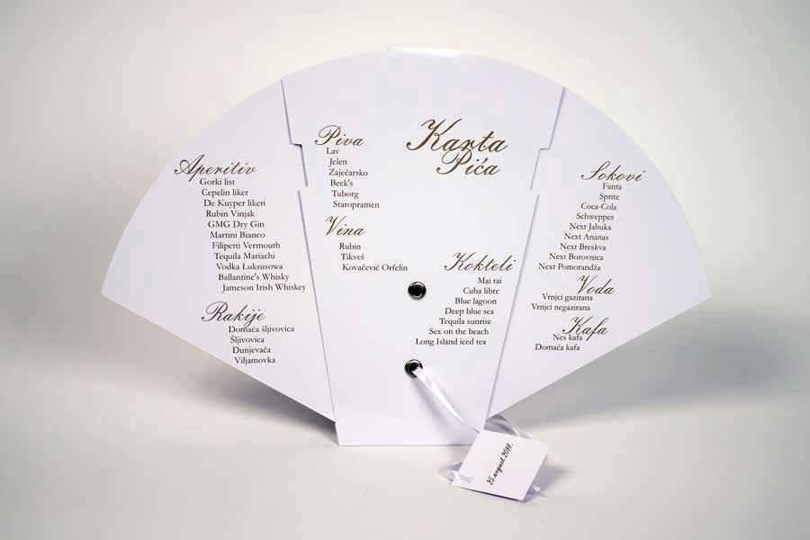 """Sklopiva svadbena lepeza u jednoj boji """"karta pića"""" (lepeze za venčanja)"""